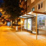Wartehalle Metropole in Erfurt, beleuchtet
