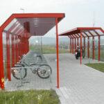 Fahrradüberdachung Ala in RAL-Farbe Rot