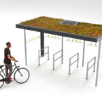 Fahrradüberdachung Progress mit Grünbedachung und Solarpanel